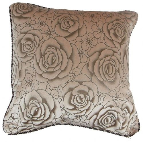 CHENILLE FLORAL ROSES CUSHION BEIGE LATTE COLOUR